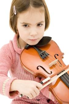 바이올린 흰색 절연 어린 소녀