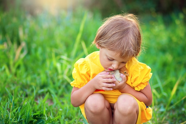 Little girl in a yellow dress sits in the grass and gently hugs a little chicken