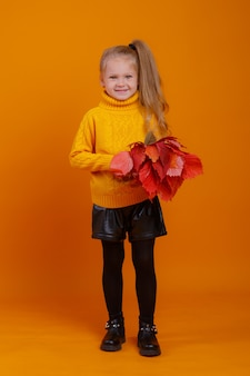 A little girl in a yellow sweater with a bouquet of red autumn leaves is surprised on a yellow space in the studio