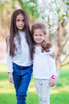 Little girls in blooming cherry tree garden on spring day