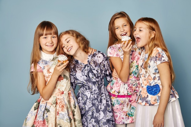 Little girls have fun and play, celebrate birthday