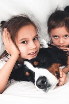 강아지 bernese 산 개, 우정과 함께 침대에서 어린 소녀