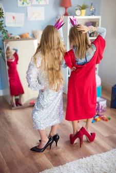 Little girls pretending to be a star