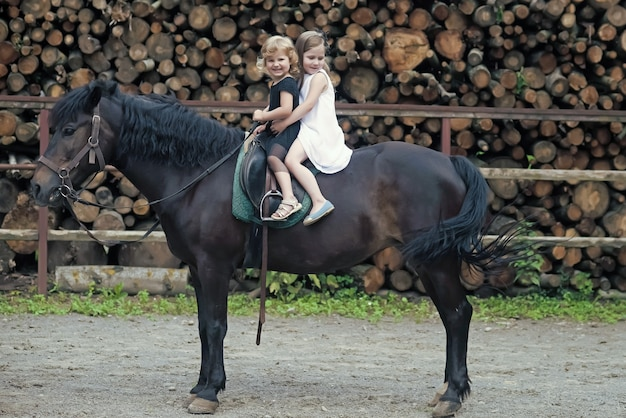 Little girls ride on horse on summer day.
