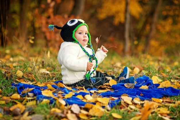 暖かい服を着た小さな幸せな少年は舌を示し、青い格子縞の上に座って、地面に紅葉した緑の芝生で遊んでいます。