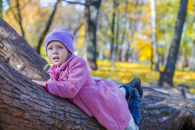 Little happy girl in autumn park