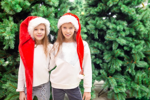 Little happy girls near fir-tree branch in snow for new year.
