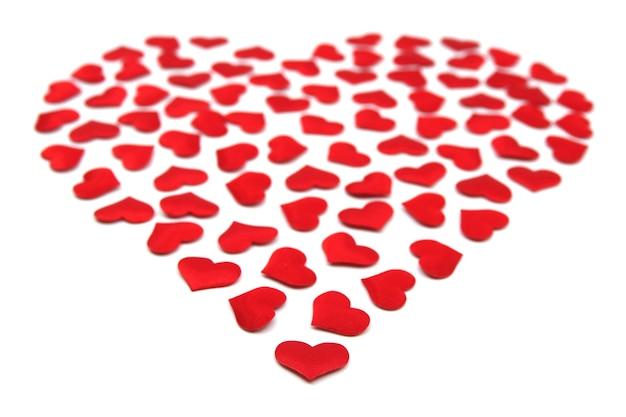 큰 심장 모양의 작은 마음. 발렌타인 데이 개념. 빨간 심 혼 발렌타인 데이 카드. 사랑스러운 스티커