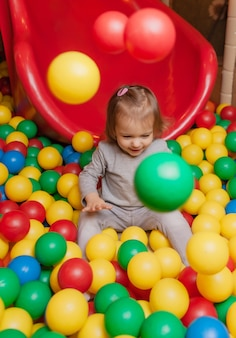 Little joyful girl in the pool with colorful balls. children's entertainment center