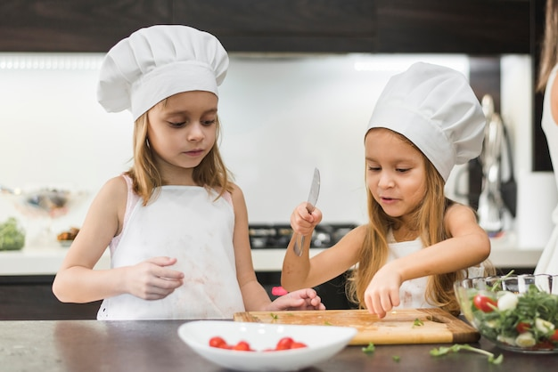 Little kid assisting her sister to cut vegetables with knife