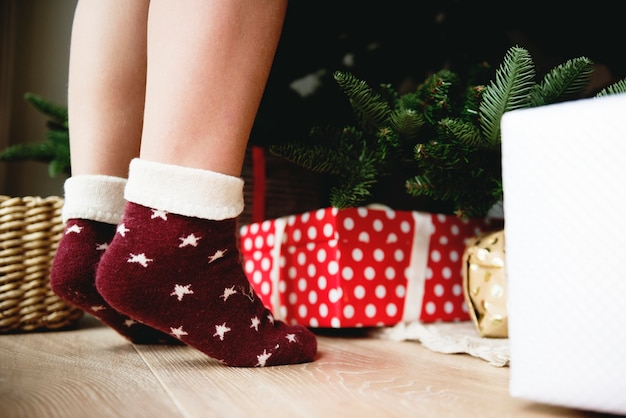 Little kid's feet wearing socks
