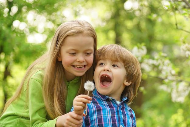 田舎の幸せな子供時代と田舎の生活でタンポポの幼児の年齢の夏を吹く小さな子供たち