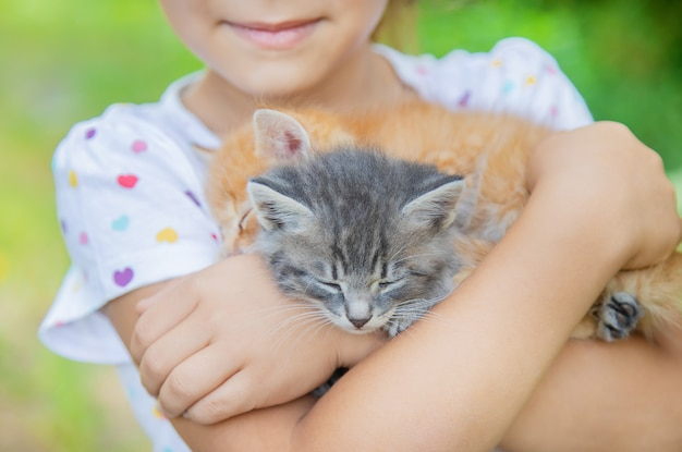 Little kittens in the hands of children