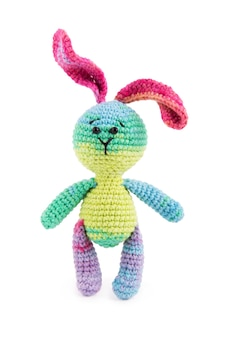 Little knitted bunny on a white