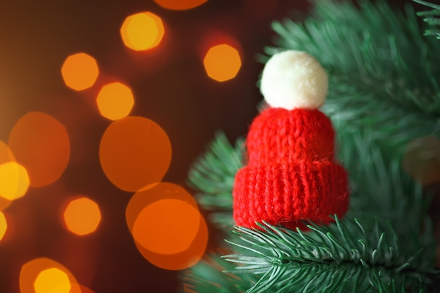 Little knitted hat on the christmas tree