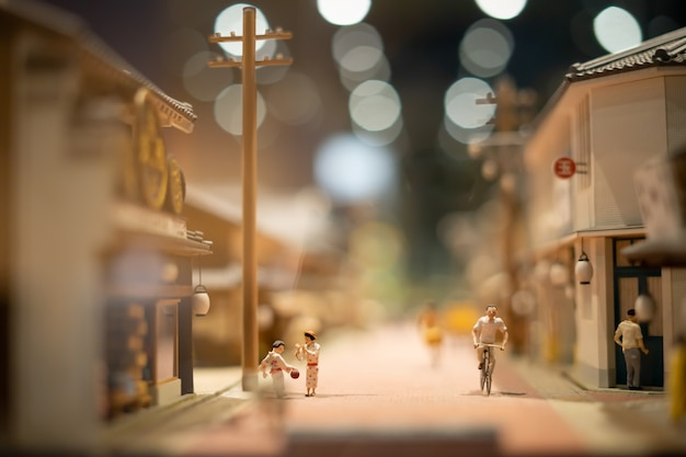 The little model of japanese town is shown at the exhibition museum.