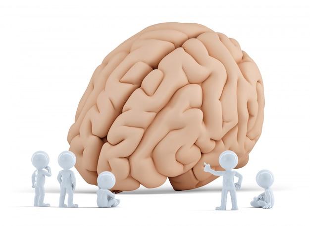 Маленькие люди встречают гигантский мозг. изолированные. содержит обтравочный контур
