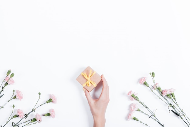 Little pink carnation on a white background and a woman's hand with a gift in a small box