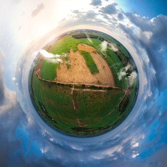 Little planet spherical panorama 360 degree view of sugar cane field.