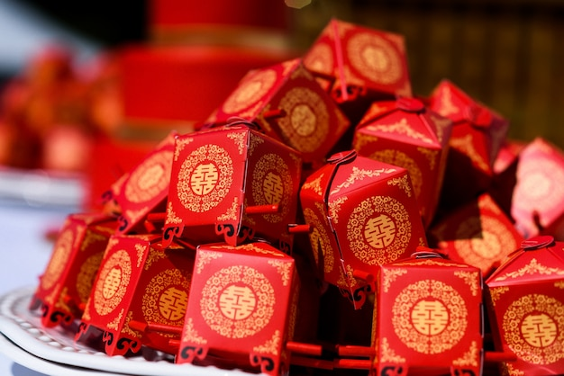 Little present boxes  made in chinese style Free Photo