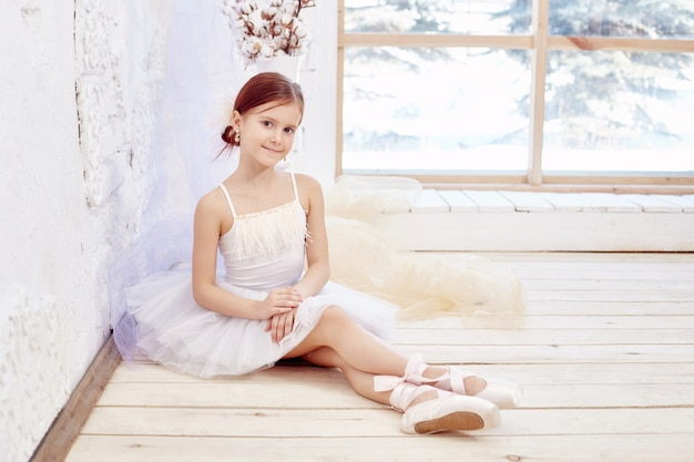 Little prima ballet. young ballerina girl