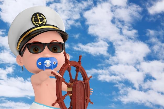 작은 선원 또는 선장 개념. 해군 장교, 제독, 해군 함선 캡틴 모자를 쓴 만화 귀여운 소년은 푸른 하늘 배경에 스탠드가 있는 나무 배 스티어링 휠 근처에 있습니다. 3d 렌더링