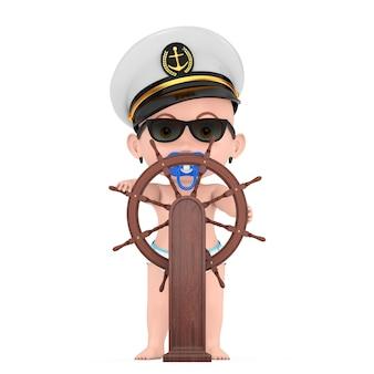 작은 선원 또는 선장 개념. 해군 장교, 제독, 해군 함선 캡틴 모자를 쓴 만화 귀여운 아기 소년은 흰색 바탕에 스탠드가 있는 나무 배 스티어링 휠 근처에 있습니다. 3d 렌더링