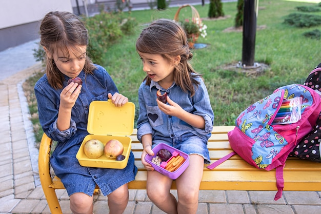 Little school girls sitting on bench in school yard and eating from lunch boxes.