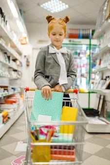 小さな女子高生が文房具店の棚のカートにノートを入れます