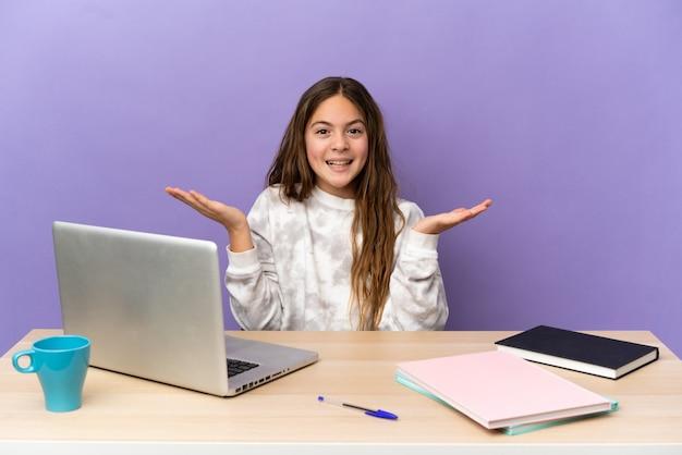 Маленькая студентка на рабочем месте с ноутбуком, изолированным на фиолетовом фоне с шокированным выражением лица