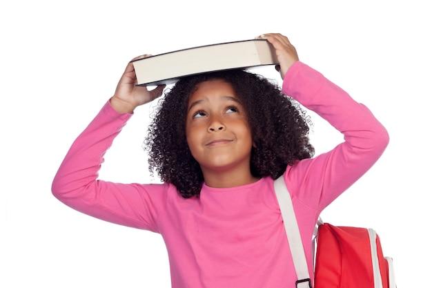 彼女の頭の本を持つ少年少女