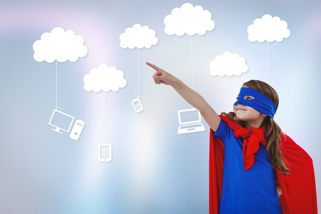 A little superhero with technological clouds