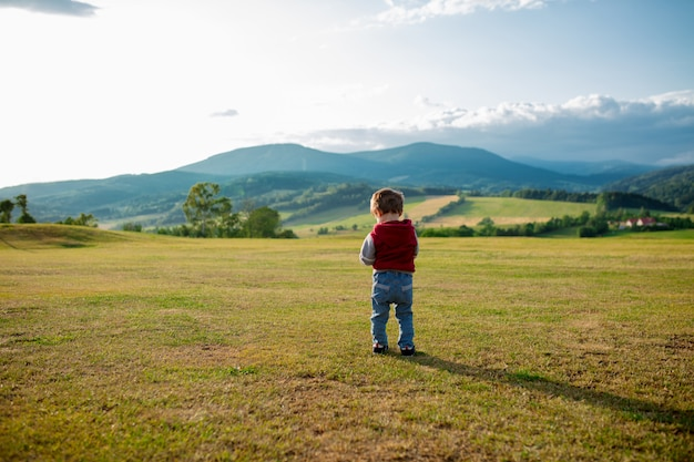 Little toddler boy stay on a meadow in a mountains