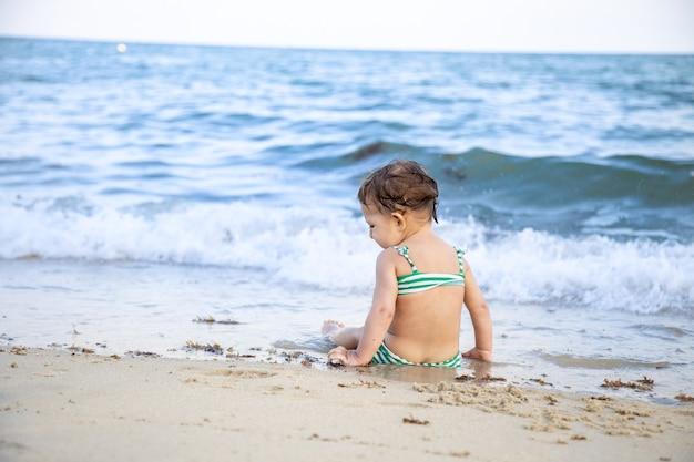 ビーチに座って波を見ている小さな幼児の女の子。背面図。