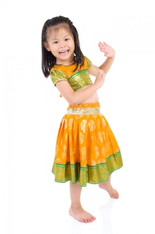 Little traditional indian costume and dancing