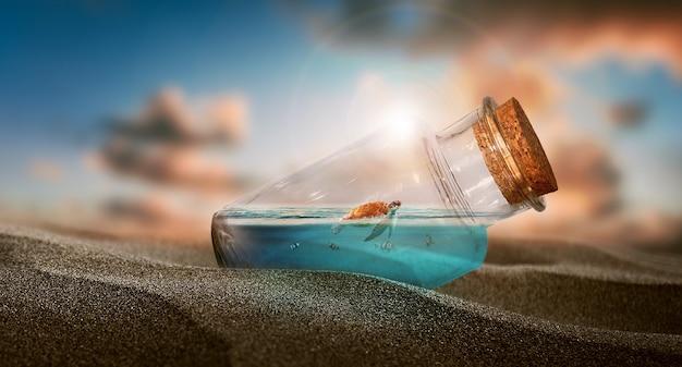 A little turtle in bottle   a bottle of water in the desert  fantasy  imagination