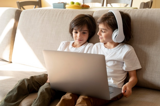 Little twins playing on a laptop