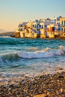해질녘 미코노스 섬의 리틀 베니스, 키클라데스, 그리스