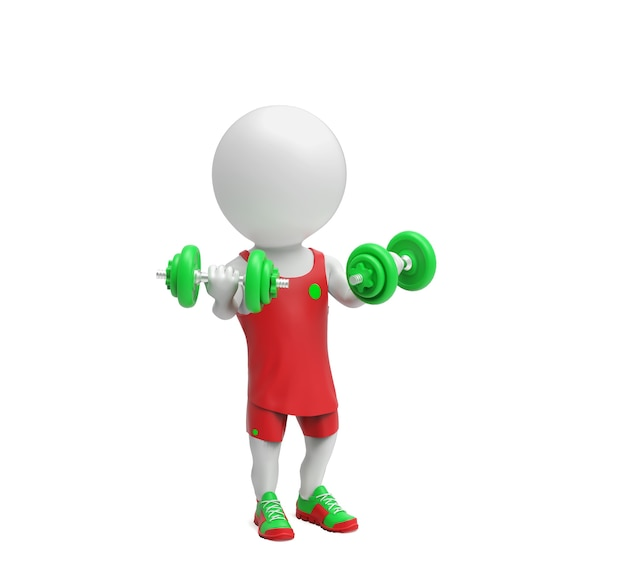 Little white sportsman with dumbbells