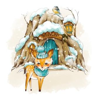 작은 겨울 새끼 사슴, 빈티지 크리스마스 인사말 카드. 우드랜드 동화 집은 눈으로 덮여 있습니다. 휴일 그림입니다.