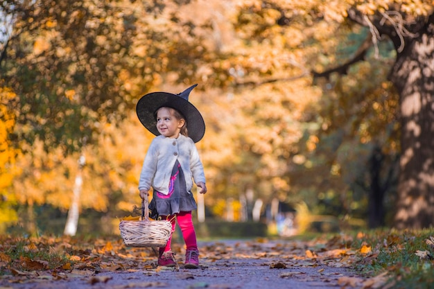 Little witch on autumn forest background