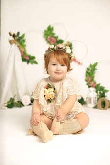 Little  years old red hair beautiful tender smiling girl childhood celebration concept spring concept