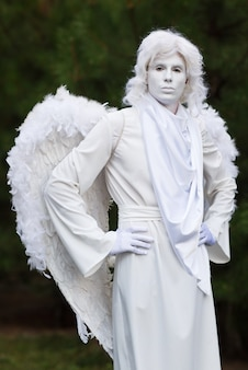 Live angel statue.