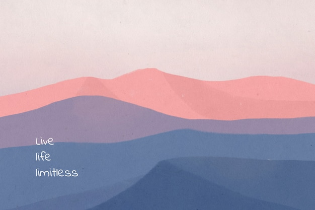 Live life limitless, dreamy motivational quote on landscape background