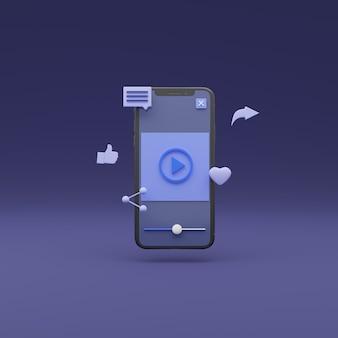 Смартфон в прямом эфире с 3d-изображением с плавающим значком