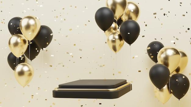 Живой подиум с воздушным шаром и конфетти