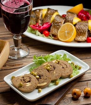 Liver pate and a glass of pomegranate juice