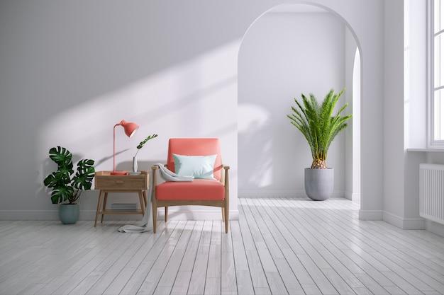 Современная середина века и минималистский интерьер гостиной, концепция декора living коралла, винтажное коралловое кресло с деревянным столом в белой комнате, 3d визуализация