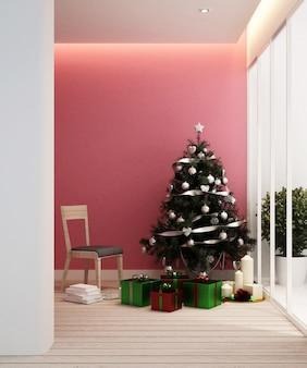 아파트 또는 가정의 거실 및 크리스마스 트리-인테리어 디자인-3d 렌더링
