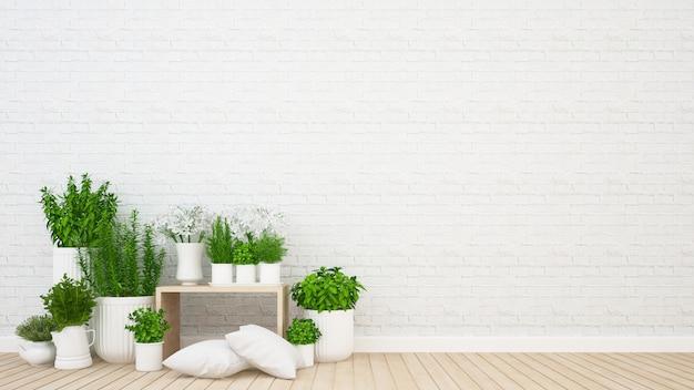 Гостиная и внутренний сад в кафе или кафе - 3d рендеринг